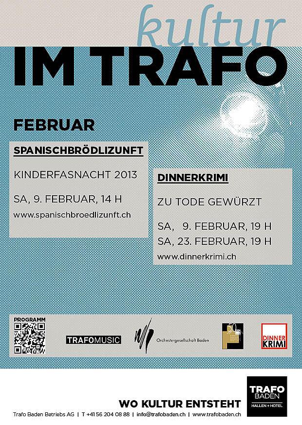Trafo Inserat A6 Kulturagenda Februar 13
