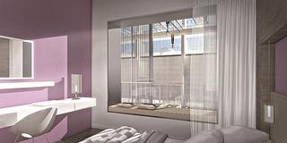 Hotelzimmer mit Aussicht auf die Halle 37